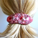 Barrette à cheveux ovale gypsy pop bohème rouge en pâte polymère handmade Joanna Calla