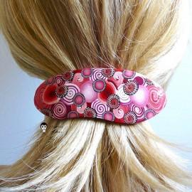 Barrette à cheveux ovale gypsy pop bohème rouge en pâte polymère handmade