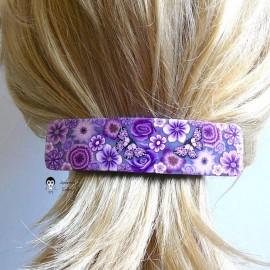 Barrette à cheveux rectangulaire gypsy pop bohème fleur violet mauve en pâte polymère handmade
