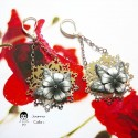 Pendant earrings in brass color silver rhodium black flower in polymer clay, handmade unique piece, Joanna Calla