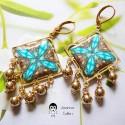Boucles d'oreilles pendantes carrées en laiton doré à l'or fin mandala bleu marron en pâte polymère, fait main, Joanna Calla