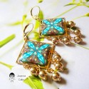 Square drop earrings in brass plated with fine gold, blue brown mandala in polymer clay, handmade, Joanna Calla