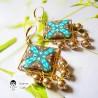 Boucles d'oreilles pendantes carrées en laiton doré mandala bleu