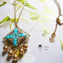 Bohemian square filigree pendant necklace in gold-plated copper, blue brown mandala in polymer clay, Joanna Calla