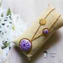 Bohemian chic necklace in 24K fine gold-plated brass, purple dahlia flower in polymer clay, Joanna Calla