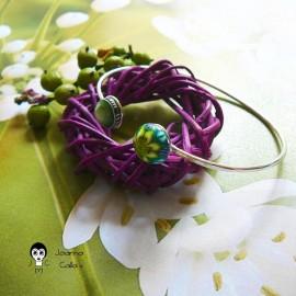 Bracelet jonc en argent réglable mandala vert jaune en pâte polymère fait main pièce unique Joanna Calla