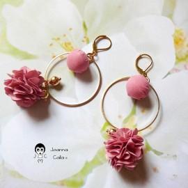 Long bohemian pendant earrings, gold plated Flora, pink fabric flower, Joanna Calla