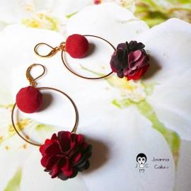 Long bohemian pendant earrings, gold plated Flora, red fabric flower, Joanna Calla