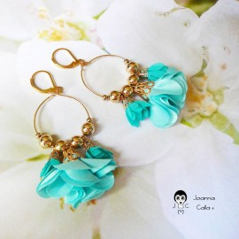Bohemian pendant earrings, Daisy gold plated turquoise flower in fabric Joanna Calla