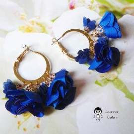 Bohemian creole earrings, Lorea, gold plated, blue flower and tassels in fabric, Joanna Calla