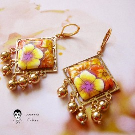 Gold plated pendant earrings Thalie, yellow orange flowers in polymer clay handmade Joanna Calla