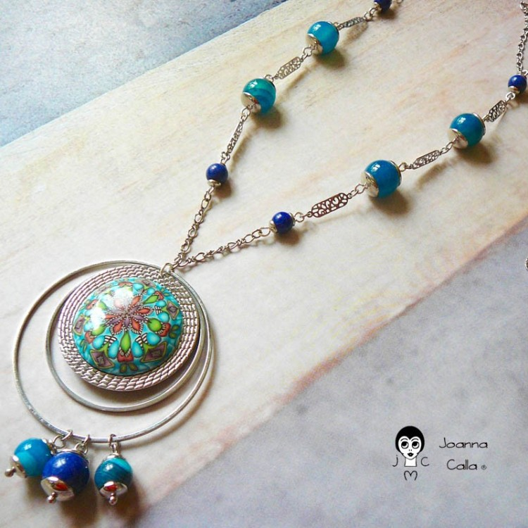 Silver bohemian long necklace Astrée blue mandala in polymer clay handmade Joanna Calla