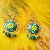 Boucles d'oreilles pendantes Astrée vert