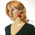 Bohemian creole earrings, Lorea, gold plated, red flower and tassels in fabric, Joanna Calla