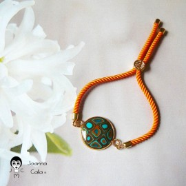 Bohemian woman bracelet, adjustable, on orange nylon cord, brown cabochon in polymer clay, handmade, Joanna Calla