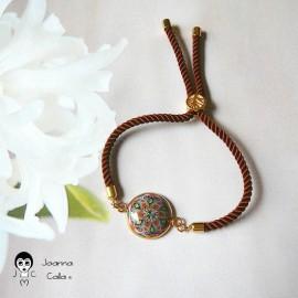 Bracelet bohème femme réglable sur cordon en nylon marron, mandala marron rose en pâte polymère, fait main, Joanna Calla