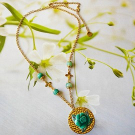 Bohemian floral necklace Rosa green rose