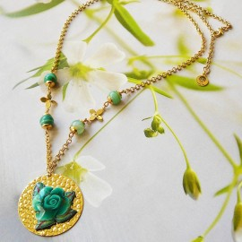 Bohemian floral necklace Rosa 24K gold plated, green rose in polymer clay, handmade Joanna Calla