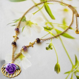 Bohemian floral necklace Rosa in 24K gold plated brass, purple rose in polymer clay, handmade Joanna Calla