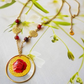 Bohemian floral necklace Rosa 24K gold plated, red rose in polymer clay handmade Joanna Calla