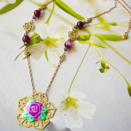 Bohemian floral necklace Rosa gold plated brass, purple rose in polymer clay handmade Joanna Calla