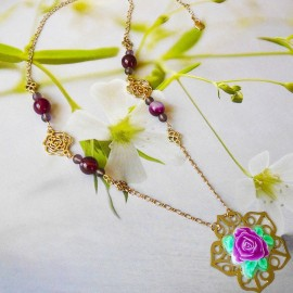 Bohemian necklace gold plated Rosa purple rose