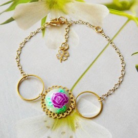 Bohemian floral bracelet in golden brass with purple rose flower in polymer clay Joanna Calla