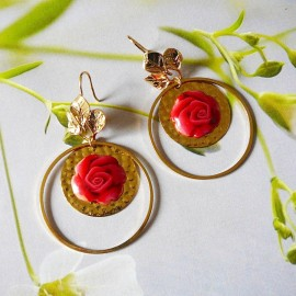 Bohemian floral gold plated 24K earrings pendant, red rose in polymer clay handmade Joanna Calla