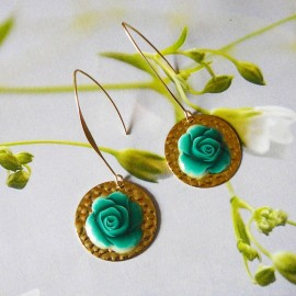Bohemian floral gold plated 24K earrings pendant, green rose in polymer clay handmade Joanna Calla