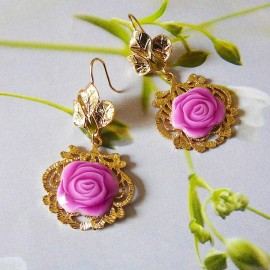 Bohemian floral gold plated 24K earrings pendant, pink rose in polymer clay handmade Joanna Calla