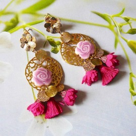 Bohemian floral earrings Rosa, 24K gold plated brass dangles, silk pendants and pink rose flower in polymer clay, Joanna Calla