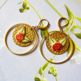 Bohemian floral gold plated earrings pendant orange rose flower in polymer clay handmade Joanna Calla