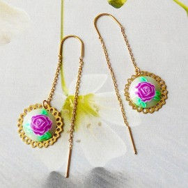 Bohemian floral gold plated earrings pendant purple rose flower in polymer clay handmade Joanna Calla