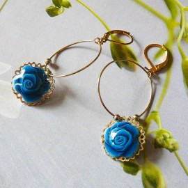 Bohemian floral gold plated earrings pendant, blue rose flower in polymer clay, handmade, Joanna Calla