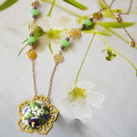 Bohemian floral necklace Elaia gold plated, purple flowers in polymer clay handmade Joanna Calla