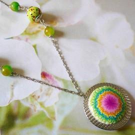 Bohemian silver necklace Dahlia green