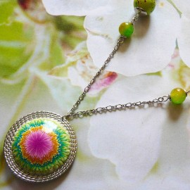 Bohemian chic pendant necklace for women in rhodium silver brass, pink green dahlia flower in polymer clay, Joanna Calla