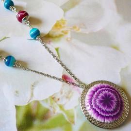 Collier bohème argent Dahlia violet