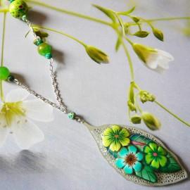 Bohemian silver necklace green Viridiana