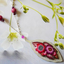 Bohemian silver necklace red Viridiana