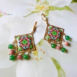Boucles d'oreilles bohème pendantes Thalie mandala vert rose