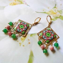 Gold plated pendant earrings Thalie, green pink mandala in polymer clay, handmade Joanna Calla