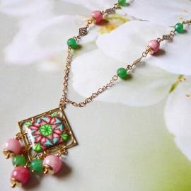 Bohemian necklace Thalie gold plated, green pink mandala in polymer clay handmade Joanna Calla