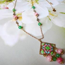 Collier bohème Thalie doré mandala vert rose