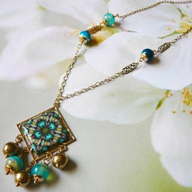 Bohemian necklace Thalie gold plated, blue mandala in polymer clay handmade Joanna Calla