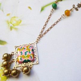 Bohemian necklace Thalie gold plated, green pink yellow mandala in polymer clay, handmade Joanna Calla