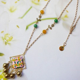 Bohemian necklace gold plated Thalie green pink mandala