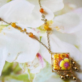 Bohemian necklace gold plated Thalie yellow flowers