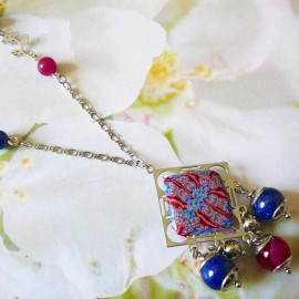 Bohemian necklace silver Thalie red blue