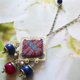 Bohemian silver rhodium necklace Thalie, red blue mandala in polymer clay, handmade Joanna Calla